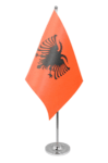 Albania Desk / Table Flag with chrome stand and base